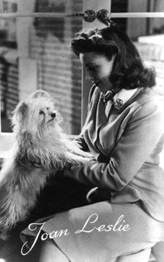 Joan Leslie via Noir and Chick Flicks Old Hollywood Stars, Classic Hollywood, Joan Leslie, Jeanne Crain, Old Movie Stars, Chick Flicks, Pet Lovers, Pretty And Cute, Old Movies