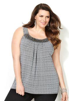 Embellished Chevron Print Tank-Plus Size Women's Knit Top-Avenue