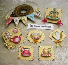 Tea Party Paper Embellishments Paper Banner for Scrapbook Layouts Cards Mini…