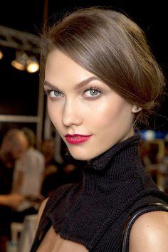 Karlie Kloss backstage at Dior. #beauty #backstage #fashionweek #runway #karliekloss #red #lipstick #classic