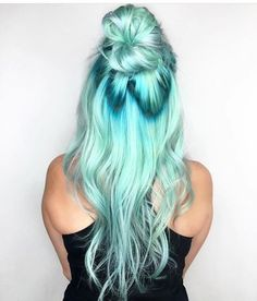 hair color turquoise   ombre   girl   long curly hair   half up half down   top knot   bun