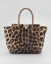 V15BD Valentino Rockstud Leopard-Print Tote