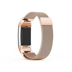 """Fitbit Charge 2 Metal Band Rose Gold , Ztotop Accessories Milanese Loop Stainless Steel Metal Bracelet Strap with Unique Magnet Lock for Fitbit Charge 2 HR 5.5\"""" - 9.3\"""" * See this great product."""