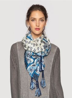 """Popely Silk Scarf by Johnny Was - The Johnny Was Signature Silk Popely Print Scarf features an elegant geometric design inspired by Dutch Folk Art in chic hues of blue and cream. Add rich color and unique pattern to your outfit by accessorizing with the Popely Print Scarf! Try this luxurious silk scarf draped, wrapped, or knotted for many different looks.   - 100% Silk  - Measures 43"""" x 43""""  - Signature Silk Print  - Dry Clean"""