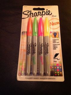 Sharpies are now available in NEON. These colours glow under black light light so are great to decorate things ready for a glow party. Being Sharpies they write on most things so would be fantastic for party cups or take home favours.