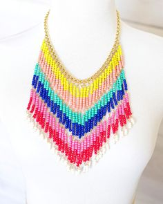COLORED FRINGE NECKLACE    $9.95
