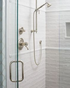 Classic, but never boring. Incorporating three stacked pencils adds juuust the right amount of interest to this subway tile shower. Design by @southernstudio. Photo by @staceyvanberkelphoto.  Tile featured: Retro Perla + Bright White High Pencil Liners. Bathroom Tile Designs, Bathroom Trends, Subway Tile Showers, Ceramic Subway Tile, The Tile Shop, Wall And Floor Tiles, Design Consultant, Bathroom Inspiration, White Ceramics