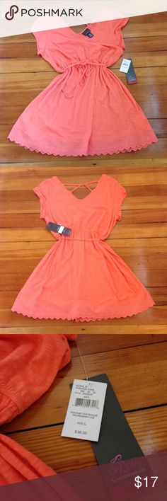 NWT Oh Baby Coral Cap Sleeve Eyelet Trim Top NWT Oh Baby Coral Cap Sleeve Eyelet Trim Top. Empire waist criss cross back. Size Large Oh Baby by Motherhood Tops