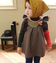 Manimakaron Korean children's clothes, etc) (Annika · AMBER · peach & cream -. Annika) regardless shoe Dress (1 color) 13/FW TIME SALE