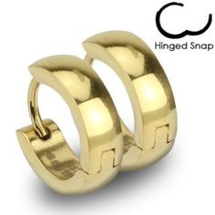 SER-0006 Pair of 316L Stainless Steel Gold IP Huggie Hoop Earrings; Comes With Free Gift Box by Jinique -- Awesome products selected by Anna Churchill