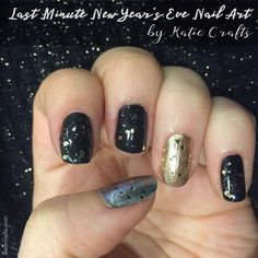 Last Minute New Year's Eve Nail Art by Katie Crafts - Crafting, Sewing, Recipes and More! https://katiecrafts.com