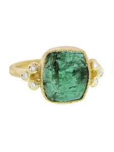 Natural Square Emerald Ring with Diamonds