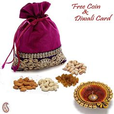 Free: 1 Silver Plated Ganesh & Laxmi Coin and 1 Diwali CardPurple Silk Zardosi work Dry fruit pouch for Diwali ; To celebrate the spirit of Diwali the well decorated pouch comes with 50 gms each of finest quality hand picked dry fruits as Kaju (Cashew), Kismis (Raisins), Badaam (Almonds) and Pistas (Pistachios).