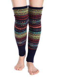 AM/_ Women/'s Winter Crochet Knitted Stocking Leg Warmers Boot Thigh High Socks Fa