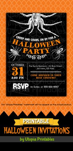 Printable Halloween party invitation with spiders, spiderwebs and a black white and orange color scheme. Premium professional digital party invite templates with unique designs to fit your Halloween idea, style or theme. Perfect design for cute, creepy or spooky themed parties for kids and adults. These customized announcement cards will be personalized with your custom text. DIY file that you can download and print at home.
