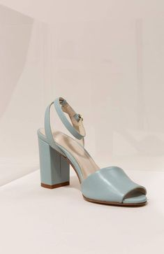 Mint & Rose 'Arlena' sandals in 'adriatico blue' Leather Belts, Leather Pumps, Spanish Woman, New Street Style, White Gold Hoops, Queen Letizia, Slingback Pump, Old And New, Black Suede