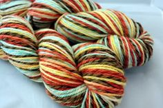 """lovely aran twist colorway """"buttons"""" by Gaia's Treasures. $36 for both skeins + ship."""