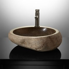 Gunther River Stone Vessel Sink #signaturehardware #whittington #sink #bathroom #remodel #dreamhome