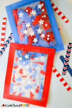 Patriotic Suncatcher Kids Craft for Fourth of July, & Flag Day! This craft is cute, easy, and mess-free.