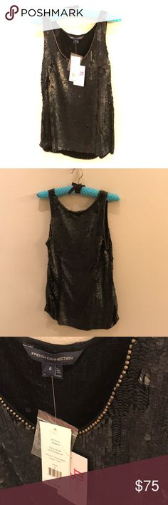 French Connection Violet Thunder Top BLack Sequin Beautiful never been worn Black / silver sequin top ! Hand beaded / sequined. Original price $148.00 , New with tags ! Size 6 French Connection Tops Tank Tops
