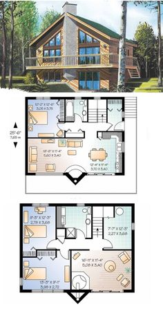 Eplans HWEPL13747 :: Main Floor 787 sq. ft. (smb:  change roof slope  {uneven slant?}  and chim.)