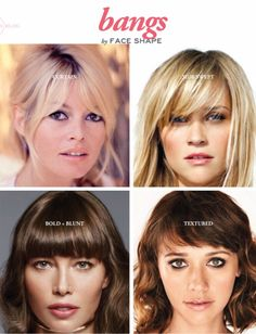 Bangs by Face Shape Sunnie Brook Celebrity Hairdresser and Beauty Expert is part of Hair cuts - I've got some simple tips on cutting bangs by face shape! How To Cut Bangs, Long Hair With Bangs, How To Style Bangs, Straight Bangs, Medium Hair Styles, Short Hair Styles, Square Face Hairstyles, Heart Shaped Face Hairstyles, Pretty Hairstyles