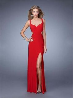 Sheath/Column High Slit Crisscross Back Chiffon Long Prom Dress PD11933