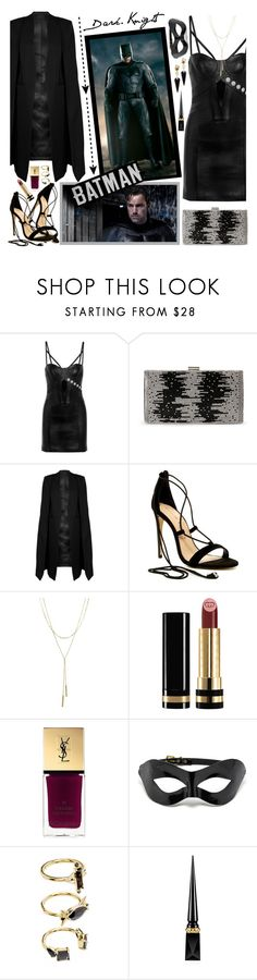 """""""Batman Inspired"""" by fashionistlady ❤ liked on Polyvore featuring Versus, Natasha, WithChic, Chinese Laundry, Bloomingdale's, Gucci, Yves Saint Laurent, Noir Jewelry, Christian Louboutin and Alexis Bittar"""