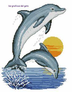 Precioso gráfico de dos delfines saltando...