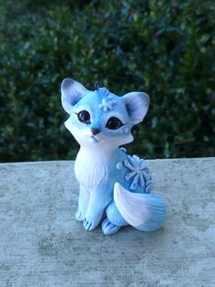 handmade one of a kind polymer clay Snowflake Fox Ornament by MysticReflections