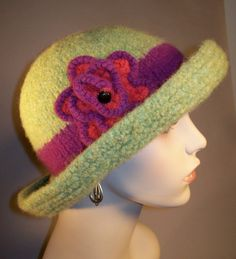 Lime Green Felted Brim Hat by yoursbydesign on Etsy, $69.00
