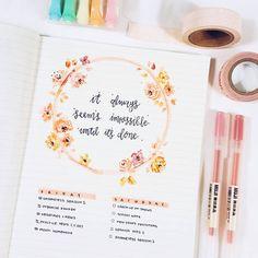 Bullet journal inspiration — studywithinspo: 1.7.17 pink + yellow flower...