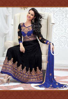 Blue and Black Faux Georgette and Velvet Anarkali Churidar kameez $70