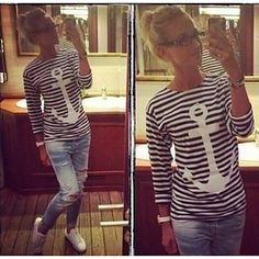Women's Anchor Print Stripe Long T-shirt