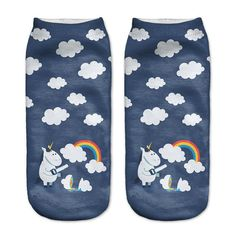 Newest Printed Emoji Socks Women Unisex Skull Sheep Plants Cute Short Socks Bright Colors Low Cut Dress Sport Ankle Socks Unicorn Print, Cute Unicorn, Unicorn Emoji, Magical Unicorn, Garter Belt And Stockings, Lace Garter, Rainbow Socks, Rainbow Cloud, Rainbow Print