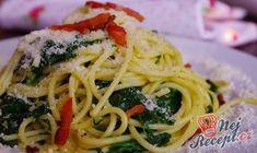 Jednoduchá klasika. Těstoviny se špenátem. Lehké jídlo, které zasytí. Dobrou chuť! Spaghetti Bolognese, Parmesan, Keto Snacks, Pesto, Ham, Risotto, Main Dishes, Appetizers, Ethnic Recipes