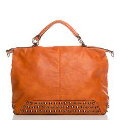 Orange Oversized Handbag w/ studded bottom