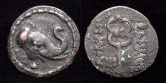 INDO-SCYTHIAN KINGDOM IN PAKISTAN, MAUES, 90-57 BC. AE27. Mitchiner 2196, Sear _. Elephant hd. wearing bell r./BASILEOY MAUEU, caduceus. VF. Scarce, not the usual similar Baktrian issue of Demetrios.