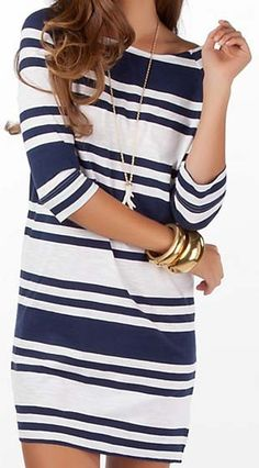 Loving the nautical look for spring.  Navy stripes and gold accessories are my go-to!