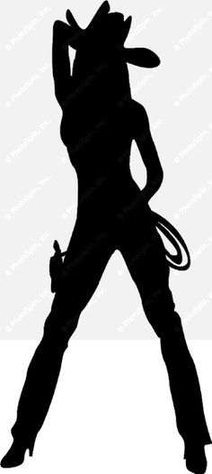 Cowgirl Silhouette | Silhouette drawing of a cowgirl with hat, whip and pistol