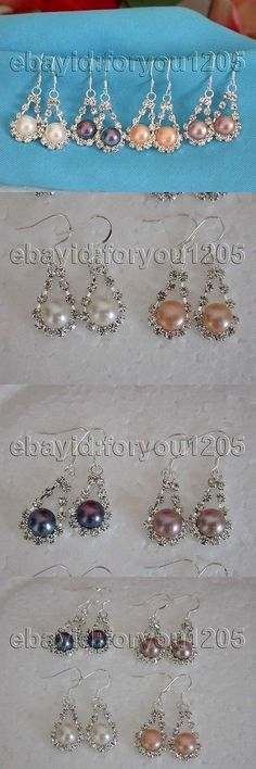 Other Wholesale Earrings 51015: Wholesale 4Pieces Natural 8.5Mm Pearl Ablaze Earrings 925Silver Hook #F1144! -> BUY IT NOW ONLY: $34.99 on eBay!