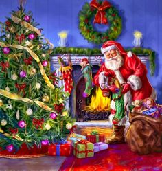 Filling the Stockings - art by Marcello Corti, via advocate-art Old Time Christmas, Old Fashioned Christmas, Christmas Scenes, Merry Little Christmas, Vintage Christmas Cards, Christmas Pictures, Christmas Colors, Christmas Art, Xmas