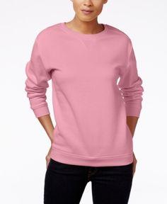 Karen Scott Petite Long-Sleeve Fleece Top, Only at Macy's - Pink P/XS