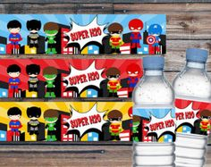 Superhero Cupcake Topper Superhero Birthday Party por EniPixels