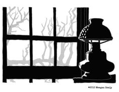 From our Past Projects Collection: This image is from @meaganhealy's Days Of Yore : Sketches of Montgomery County MD project. (2010-2011). Pen and Ink & Digital. A View from Clara Barton's office inside the Clara Barton National Historical House Glen Echo MD.  Photos and illustrations cannot convey the intensity of the red glass used in this lamp in the Red Cross Office or the red glass in the Red Cross Office windows.  Clara Barton founded the American Red Cross in 1881. This house was…