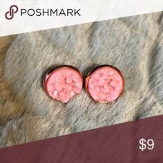 2 for $15!! Light Pink Druzy in Rose Gold Setting SALE!!! 2 pairs of druzy earrings for $15!!   Brand new!! Sparkling light pink faux druzy earrings in rose gold setting.  Handmade.   Price is firm. Jewelry Earrings