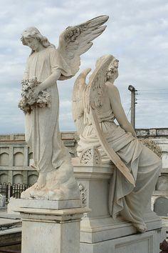 """Graveyard statues at the Cienfuegos graveyard of """"La Reine"""" by DEWELDEMAN, via Flickr"""