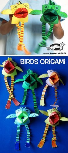 Birds origami - Kinetic art foldable birds.  Fold a cootie catcher and add legs, wings and top feathers .... voila!