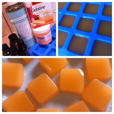OMG! Finally!! Lush DIY-Shower Jelly 2 packages of unflavored gelatin 3/4 C boiling water 1/2 C shampoo, shower gel or castile soap 30 drops-essential or fragrance oils body safe coloring if desired 1 tsp salt Desired molds. Silicone molds, square mold, shallow fun shaped molds or muffin tin molds. Could also use small plastic jars. body safe glitter if desired.