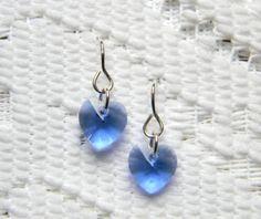 Swarovski Heart Charm Sapphire Earrings 10mm by DecadentBrassGlass